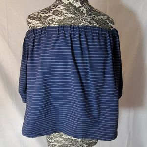 Blue and White Striped Off the Shoulder Top Sz L